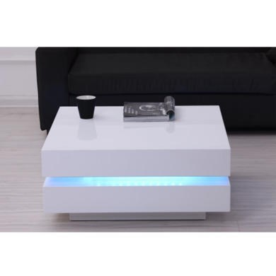 White high gloss cubic led coffee table ebay for Coffee tables 80cm wide