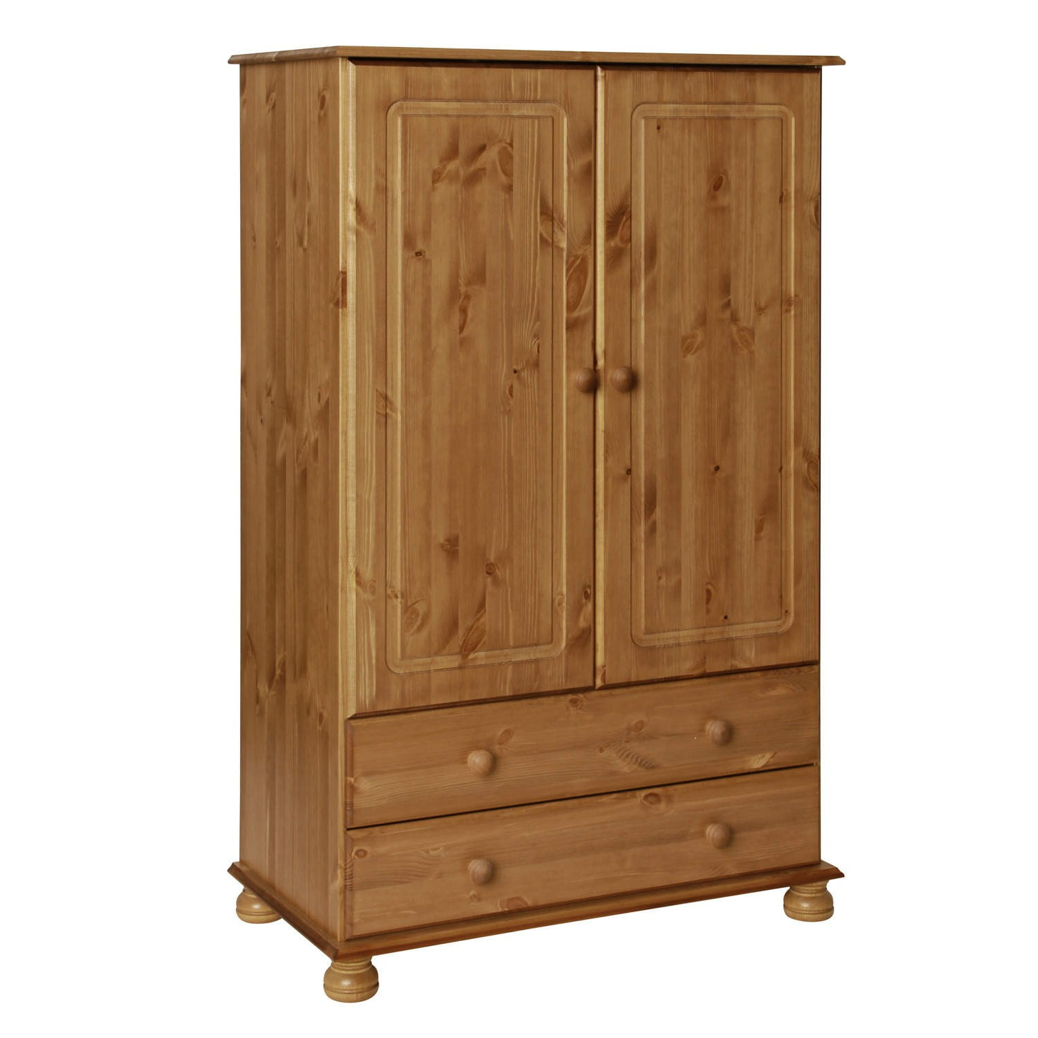 Copenhagen 2 door 2 drawer combi short wardrobe in pine Short wardrobe with drawers