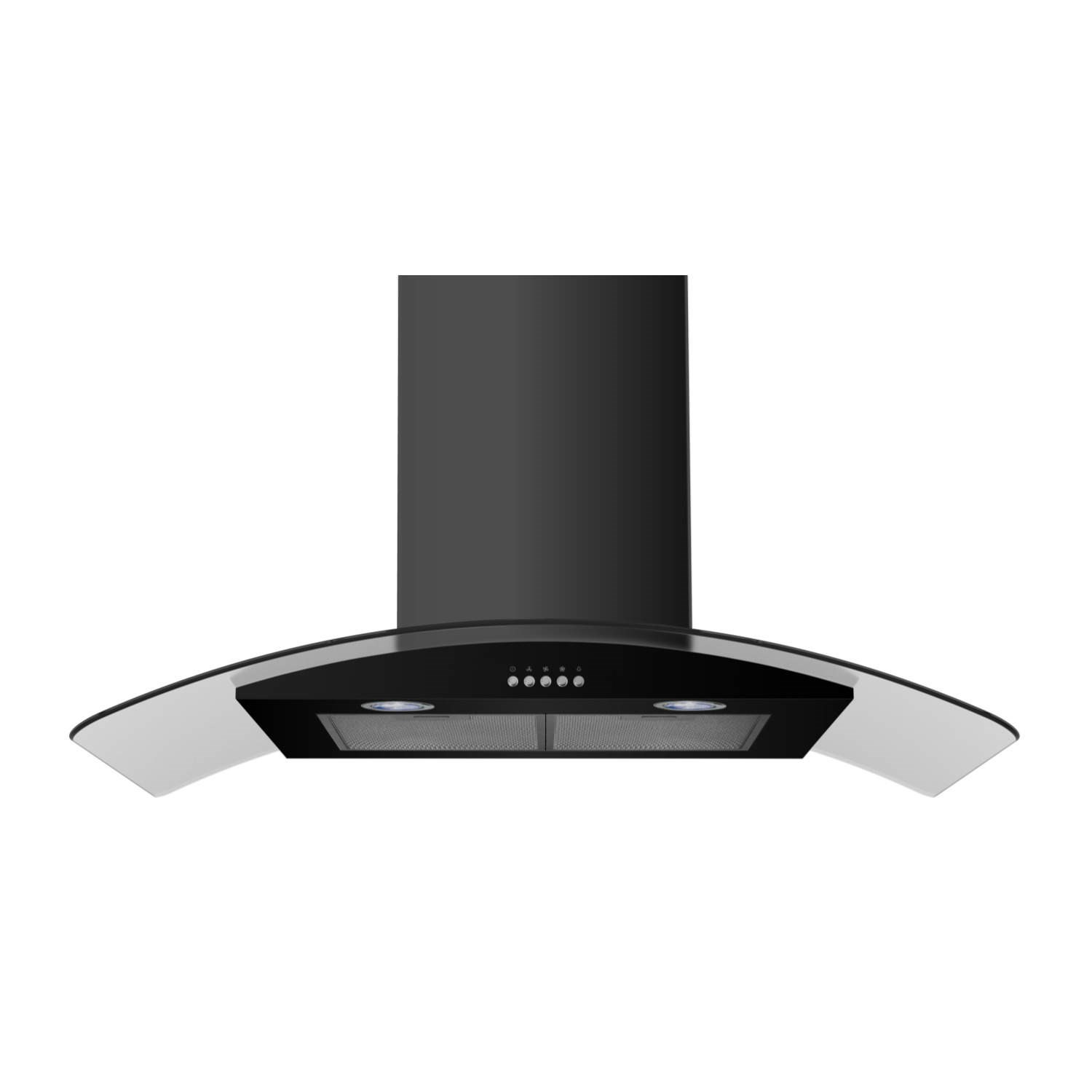 Cooker Hood With A Window ~ Electriq cm curved glass black chimney cooker hood