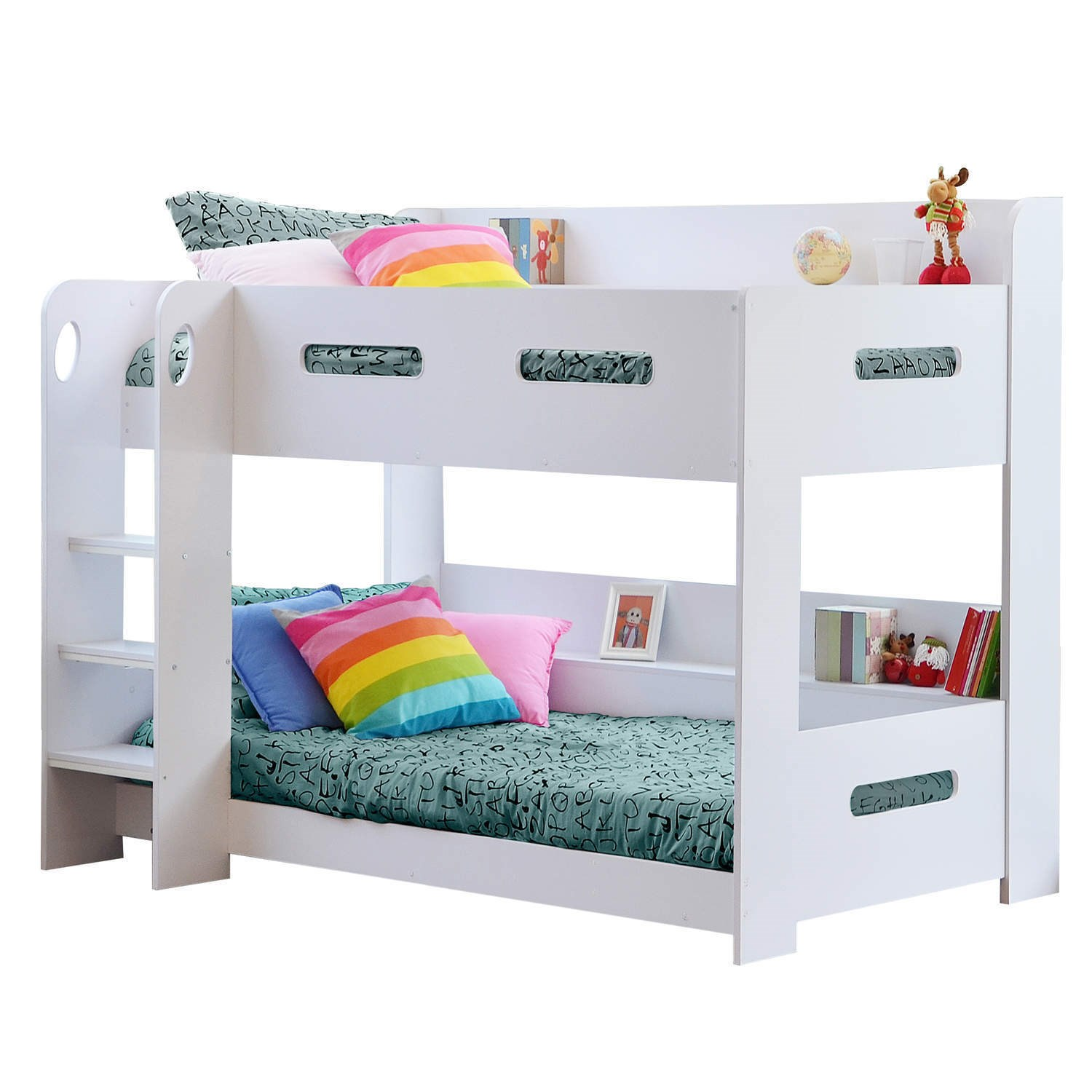 Modern kids white wooden bunk bed storage shelves ebay for Modern kids bunk beds