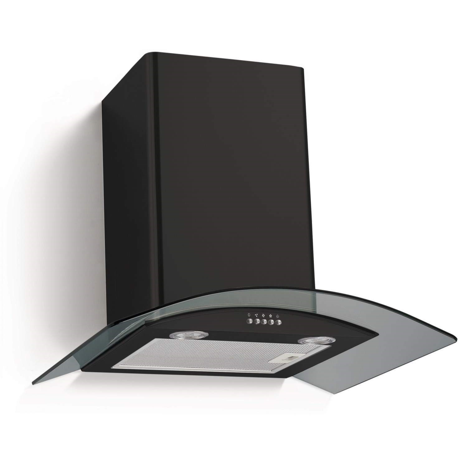 Cooker Hood With A Window ~ Electriq cm curved glass chimney cooker hood satin black