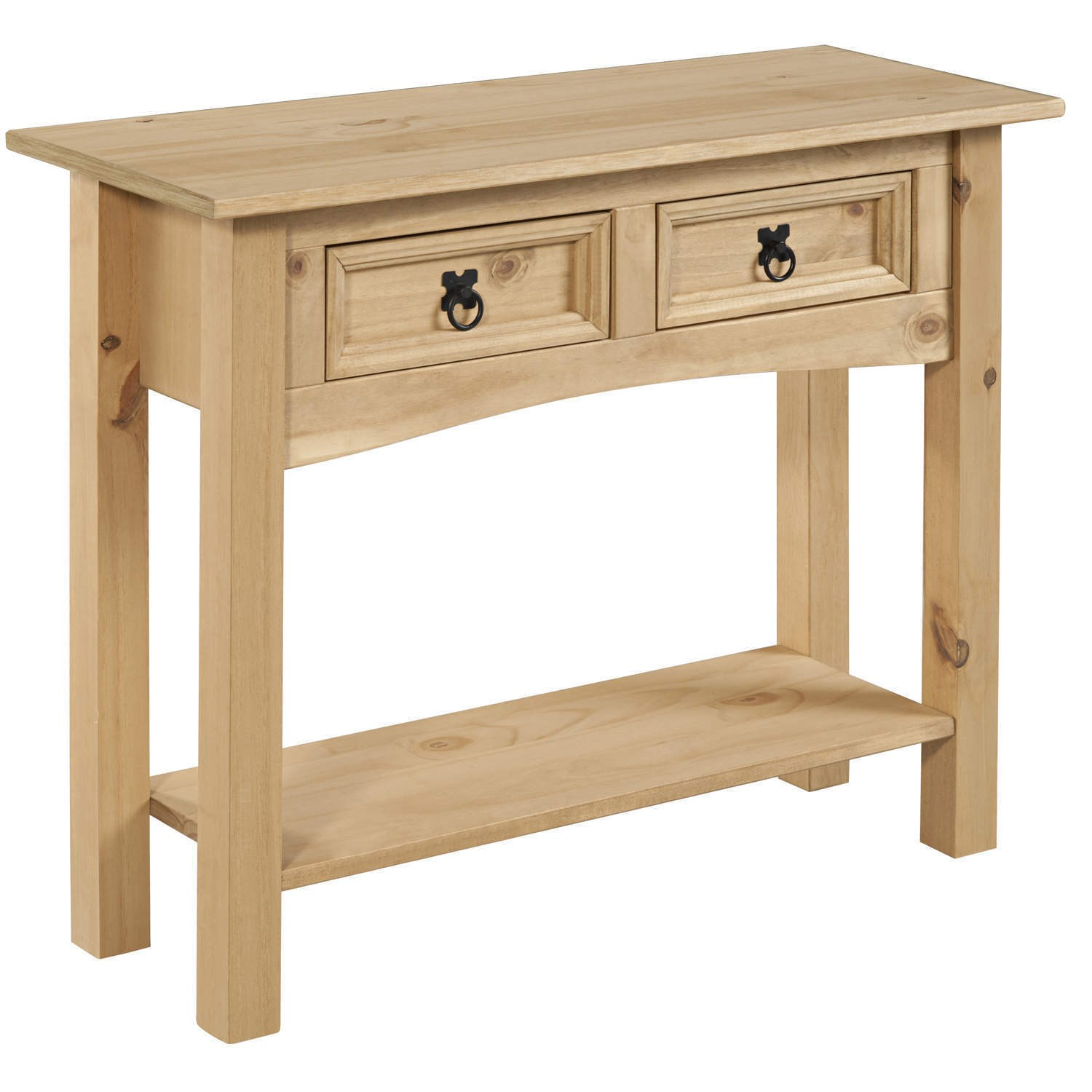 Corona solid pine 2 drawer console table with shelf cor027 ebay - Pine sofa table with drawers ...