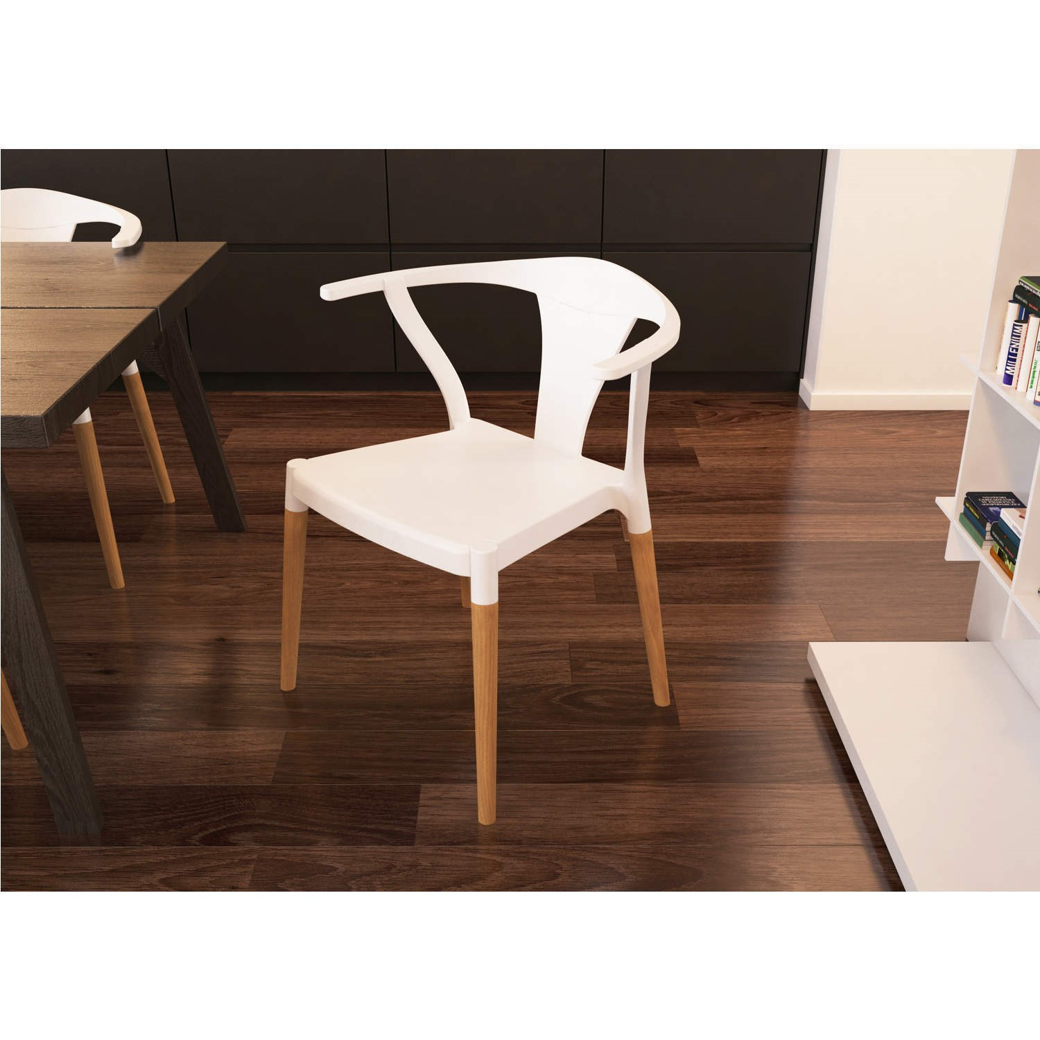 White Flat Wishbone Chair With Wooden Legs in Beech PW 035  : showimage from www.ebay.co.uk size 1500 x 1500 jpeg 210kB