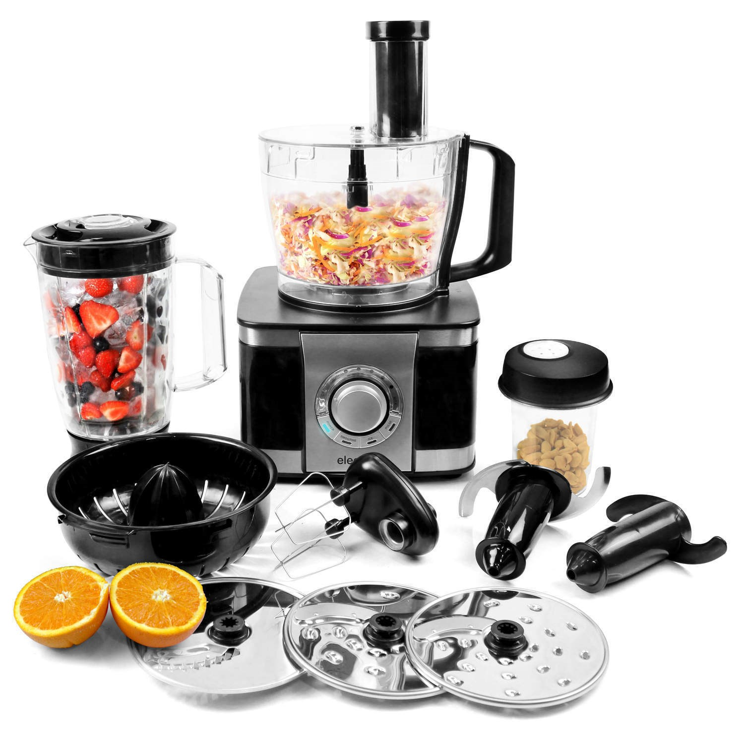 electriq 1100w food processor blender chopper mixer juicer grinder black ebay. Black Bedroom Furniture Sets. Home Design Ideas