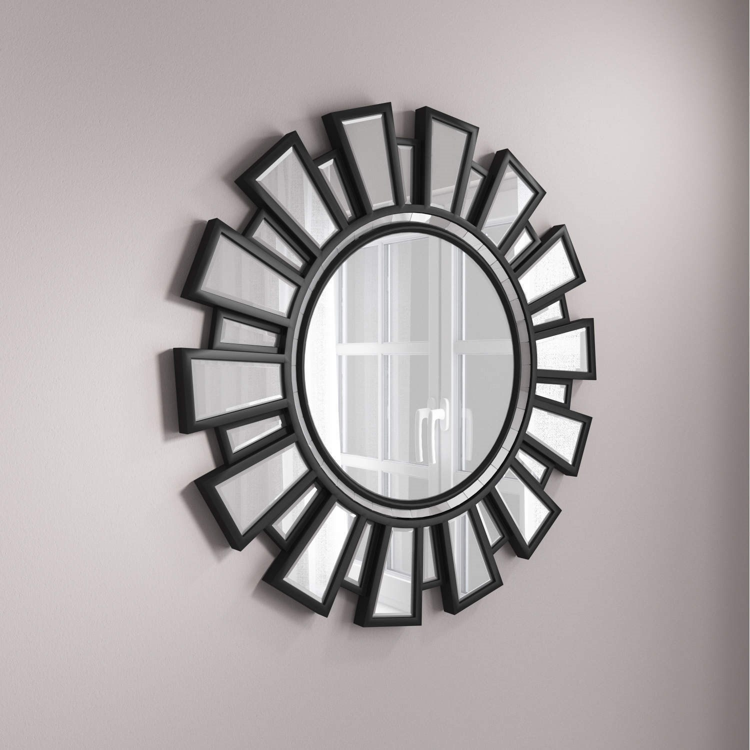 silver round wall mirror with black frame by valentina val001. Black Bedroom Furniture Sets. Home Design Ideas