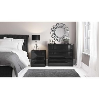 drawer bedside table black high gloss effect bedroom furniture ebay