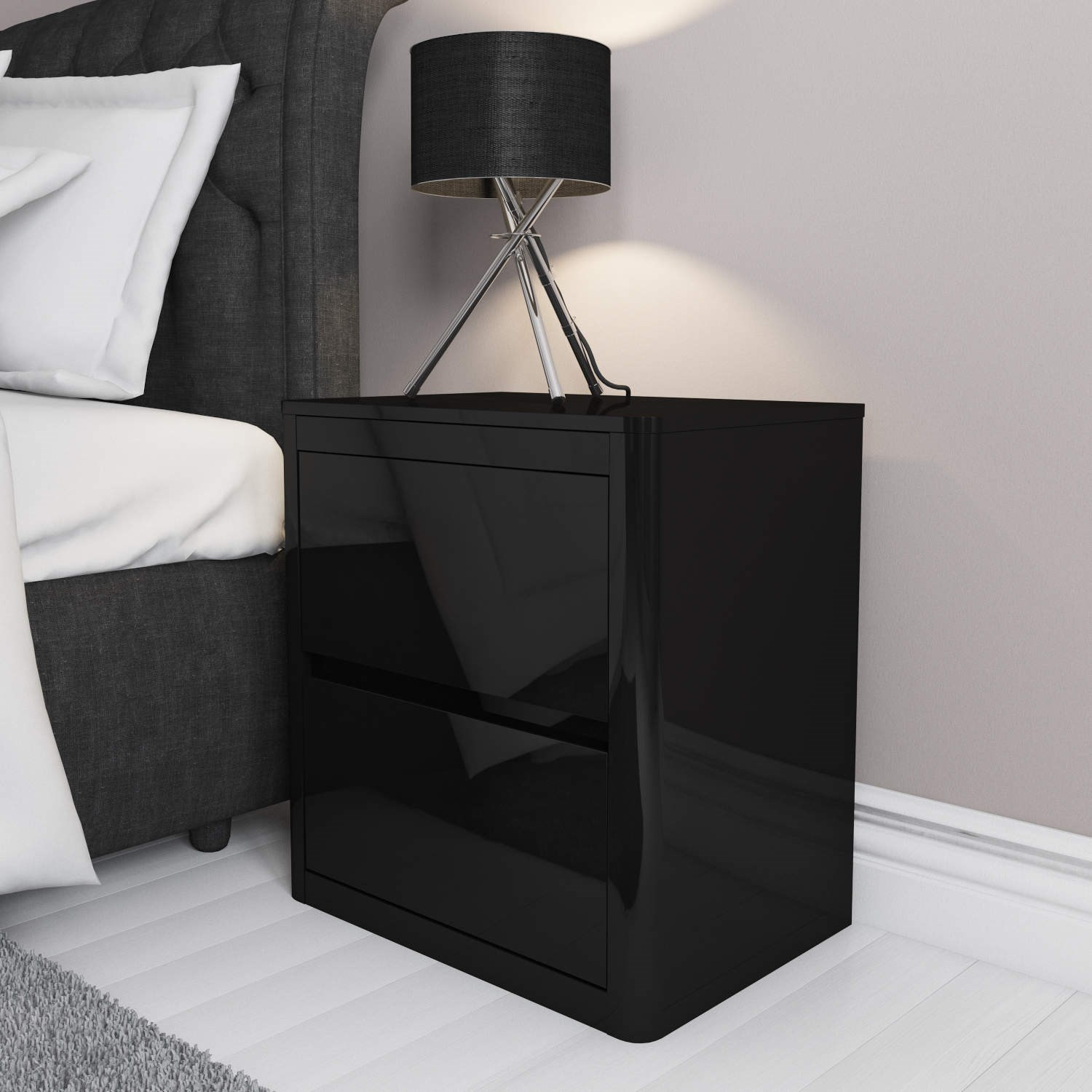 2 drawer bedside table black high gloss effect bedroom for Bedroom table chairs