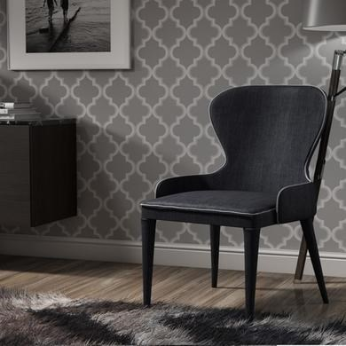 Single dark grey upholstered dining chair for Grey single chair