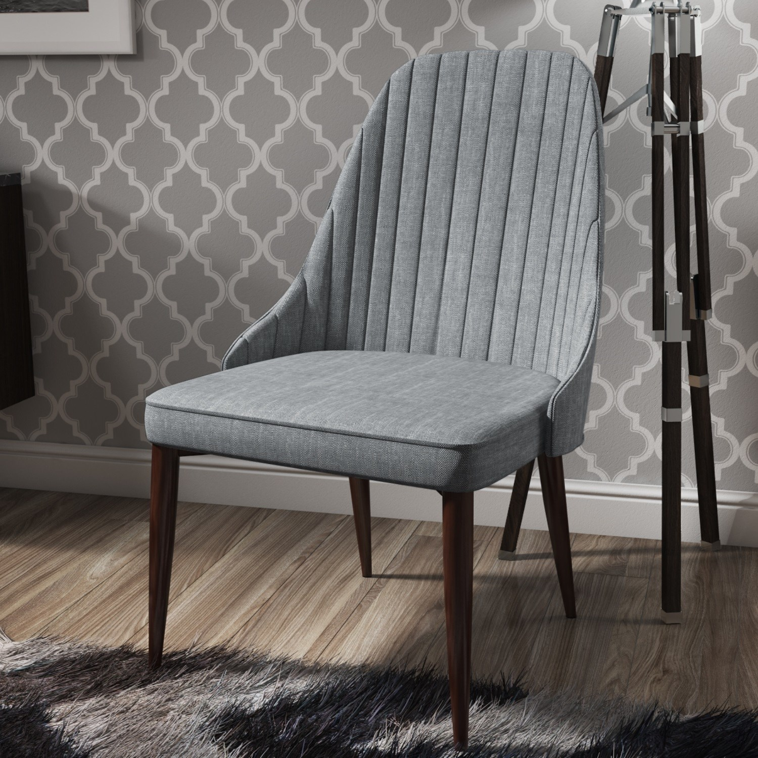 Single grey upholstered dining chair ebay for Grey single chair