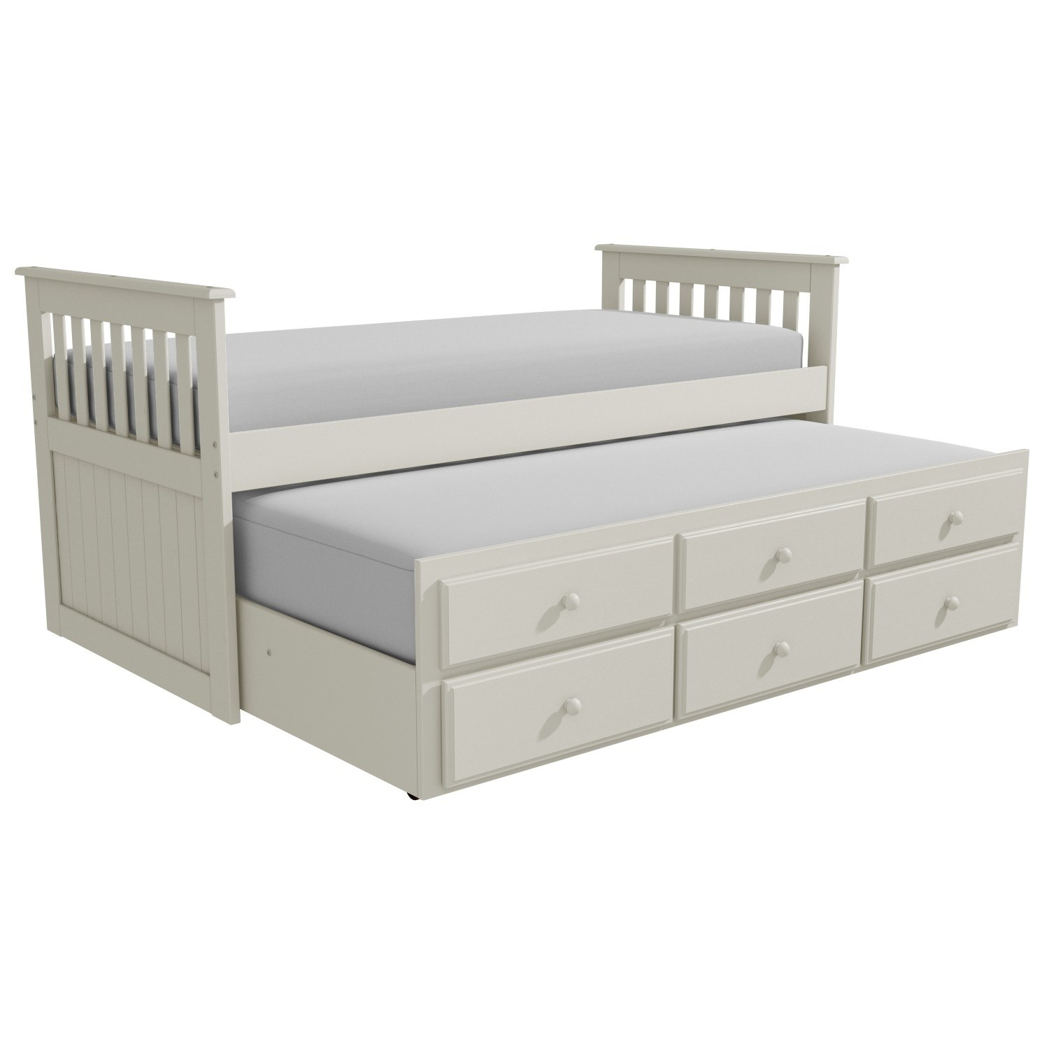 Cream guest bed captains bed trundle bed 3 storage for Single bed with drawers and mattress