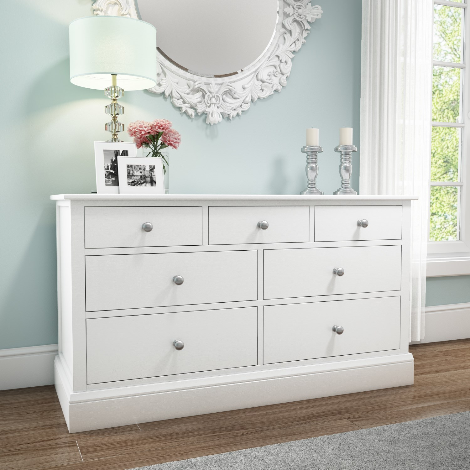Harper solid wood 4 3 wide chest of drawers in white hrp005 ebay for White bedroom chest of drawers
