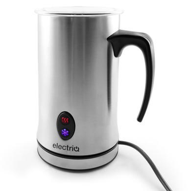 electriQ Silver Hot Cold Milk Frother Warmer Latte Foam Maker With Free Grinder eBay