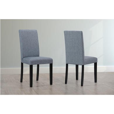 Slate fabric dining chairs with black legs x2 ebay for Black fabric dining room chairs