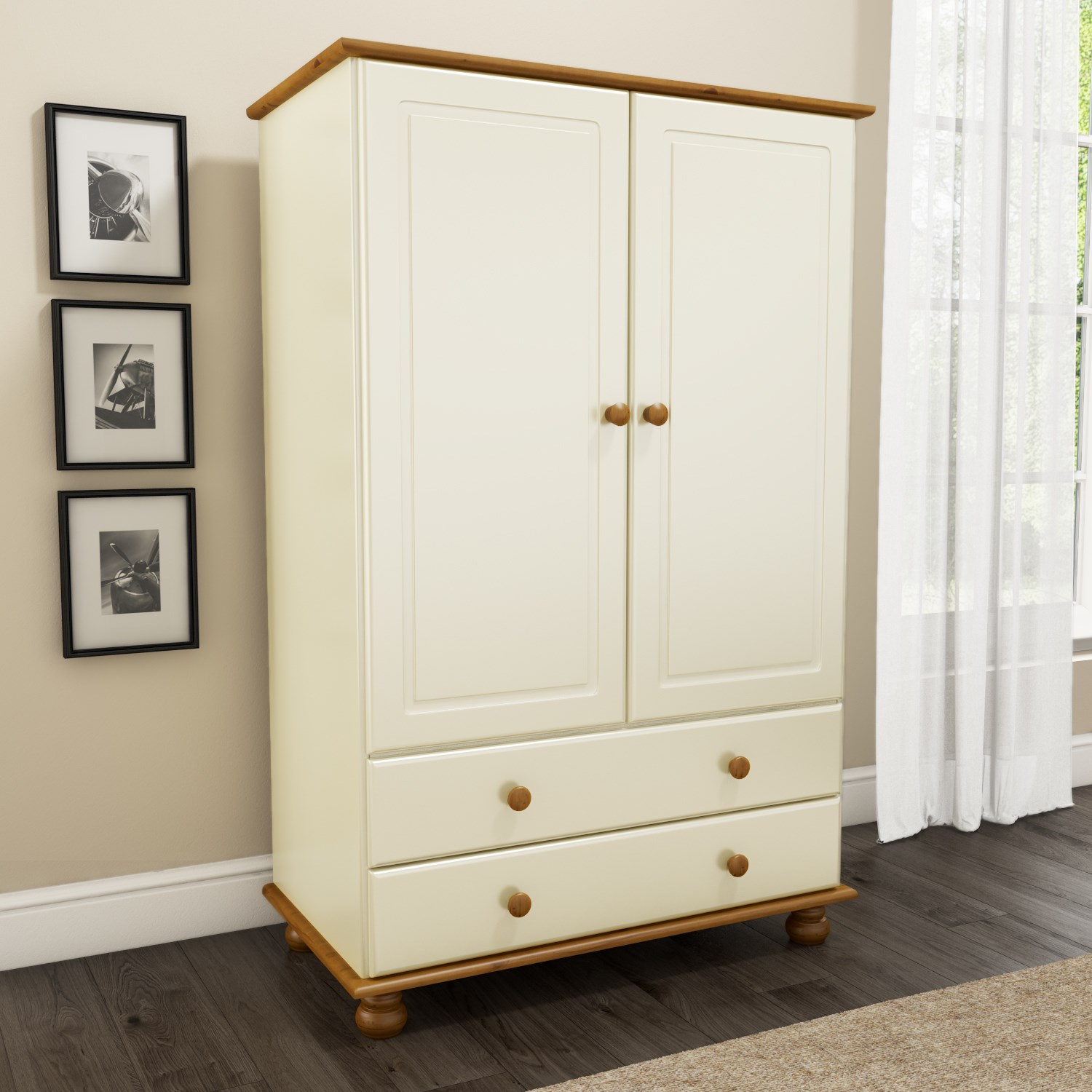 New modern solid mexican pine cream 2 door 2 drawer Short wardrobe with drawers