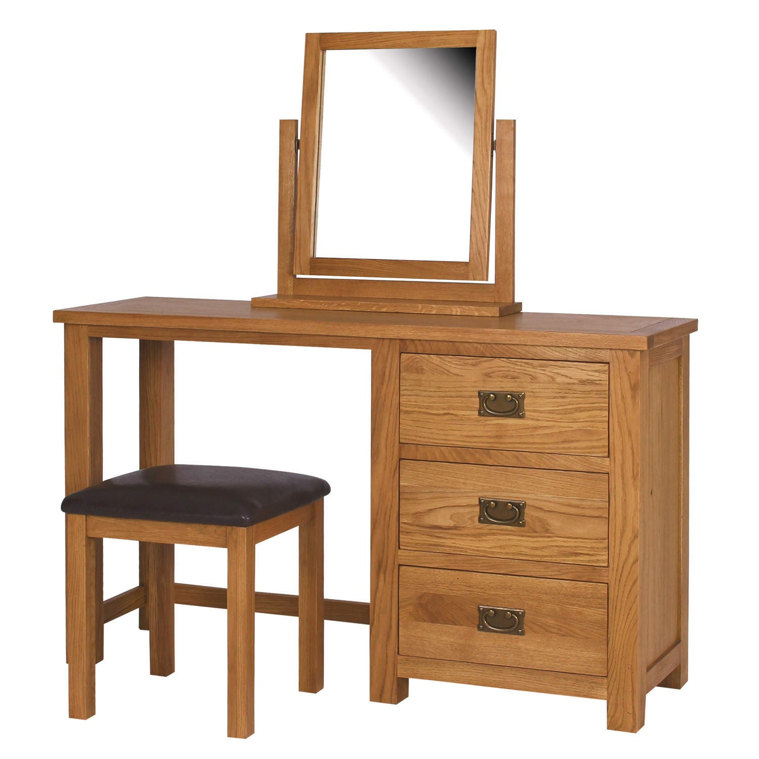 Rustic saxon solid oak wooden dressing table bedroom for Dressing table