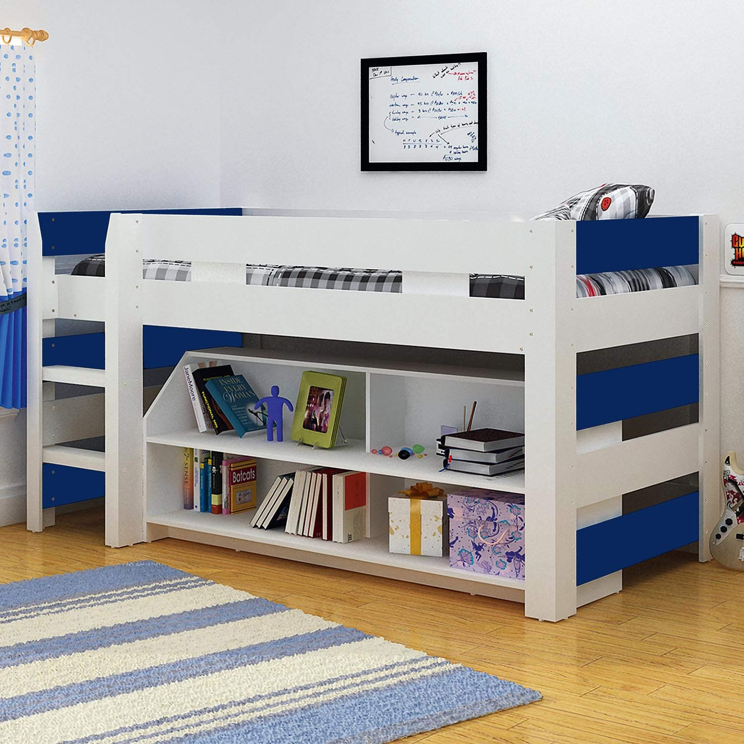Boys blue white seconique lollipop bunk bed kids mid for Toddler bunk beds