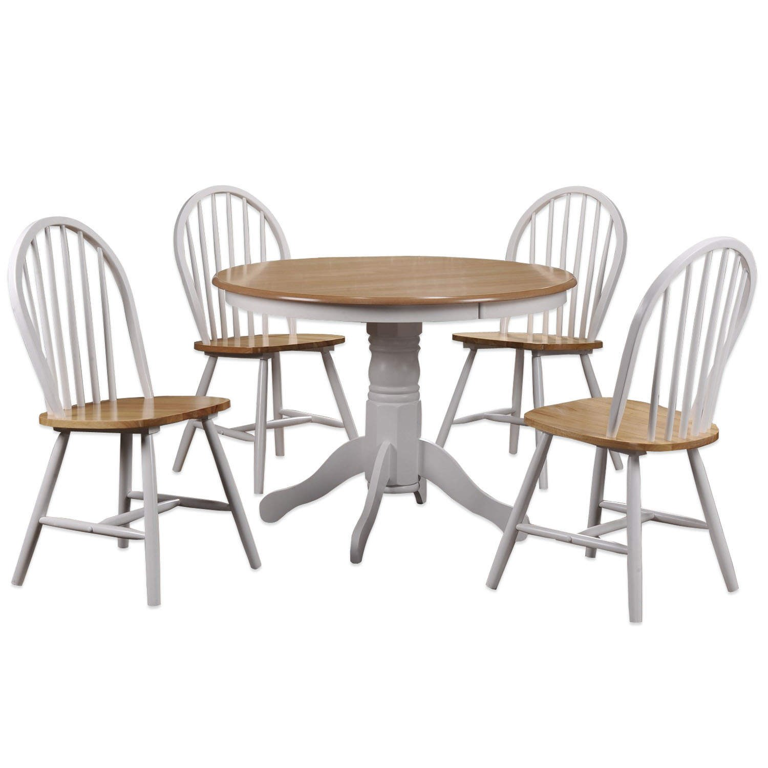 Round solid wood dining table and 4 chairs ebay for Solid wood round dining room table
