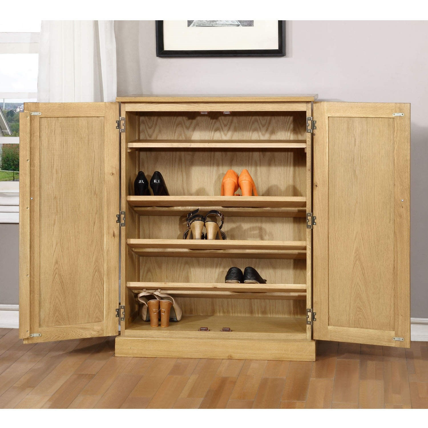 #957036  Solid Light Oak Windsor Shoe Cabinet Large Storage Cupboard   Shelves with 1500x1500 px of Recommended Large Cupboard With Shelves 15001500 save image @ avoidforclosure.info
