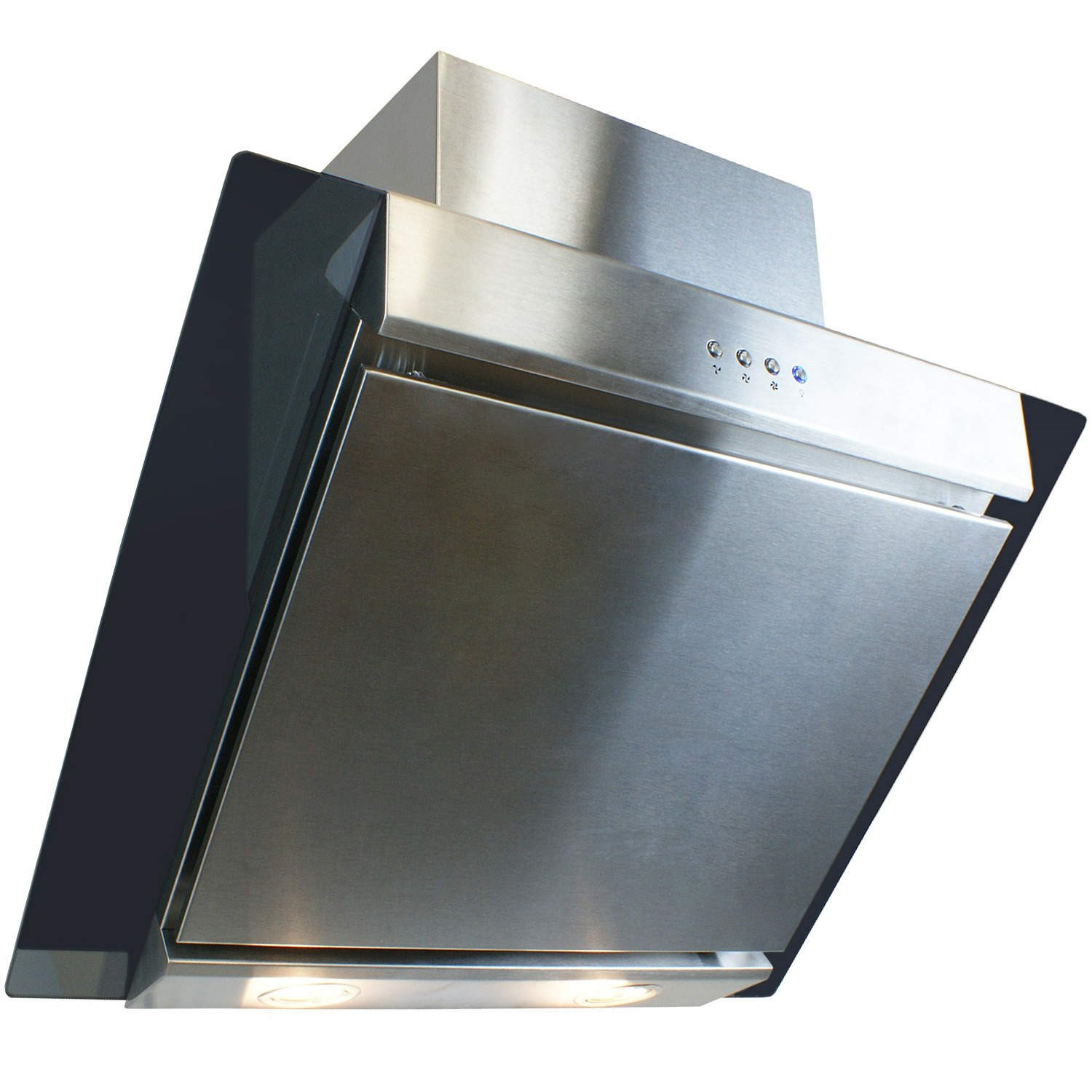 Angled Glass Cooker Hood Cm Silver