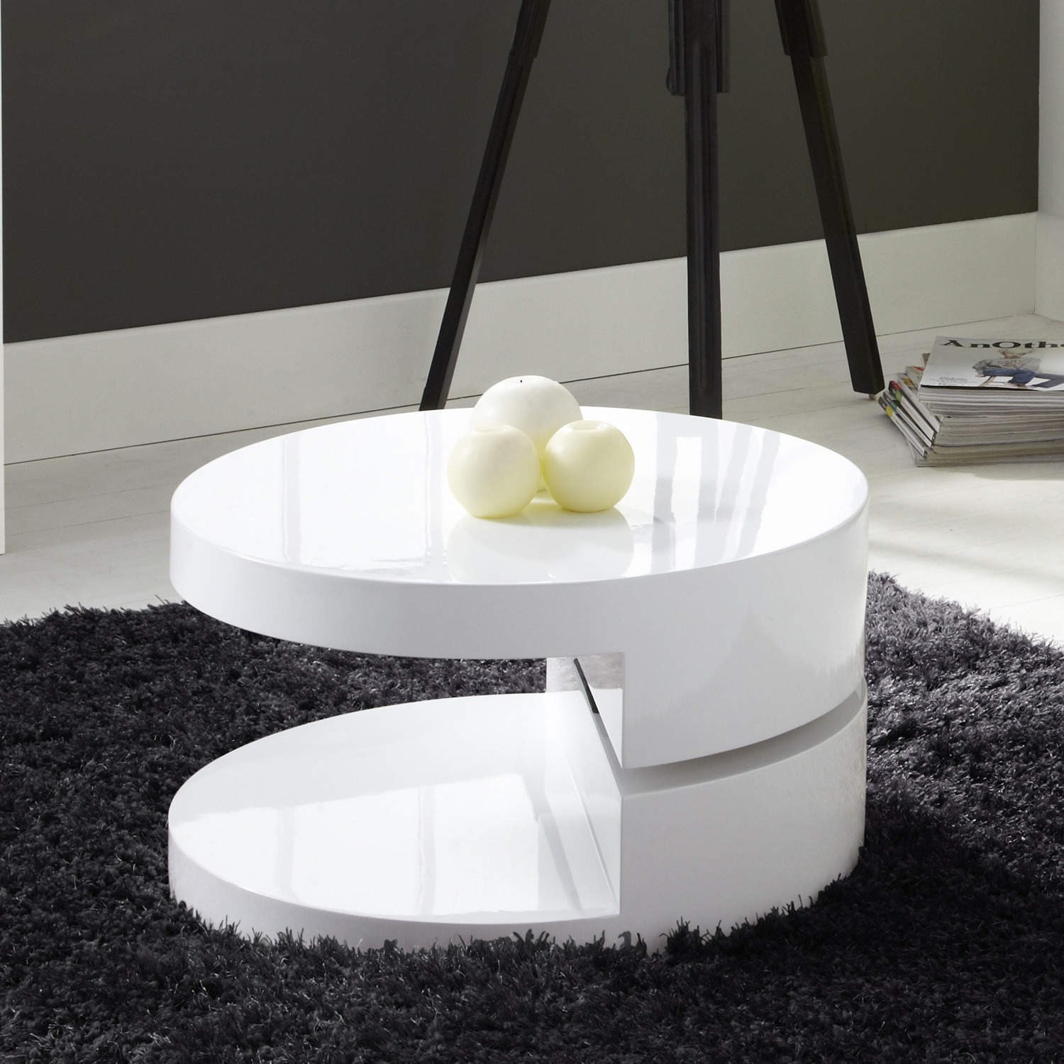 Round Rotating Top Coffee Table In White High Gloss Ebay