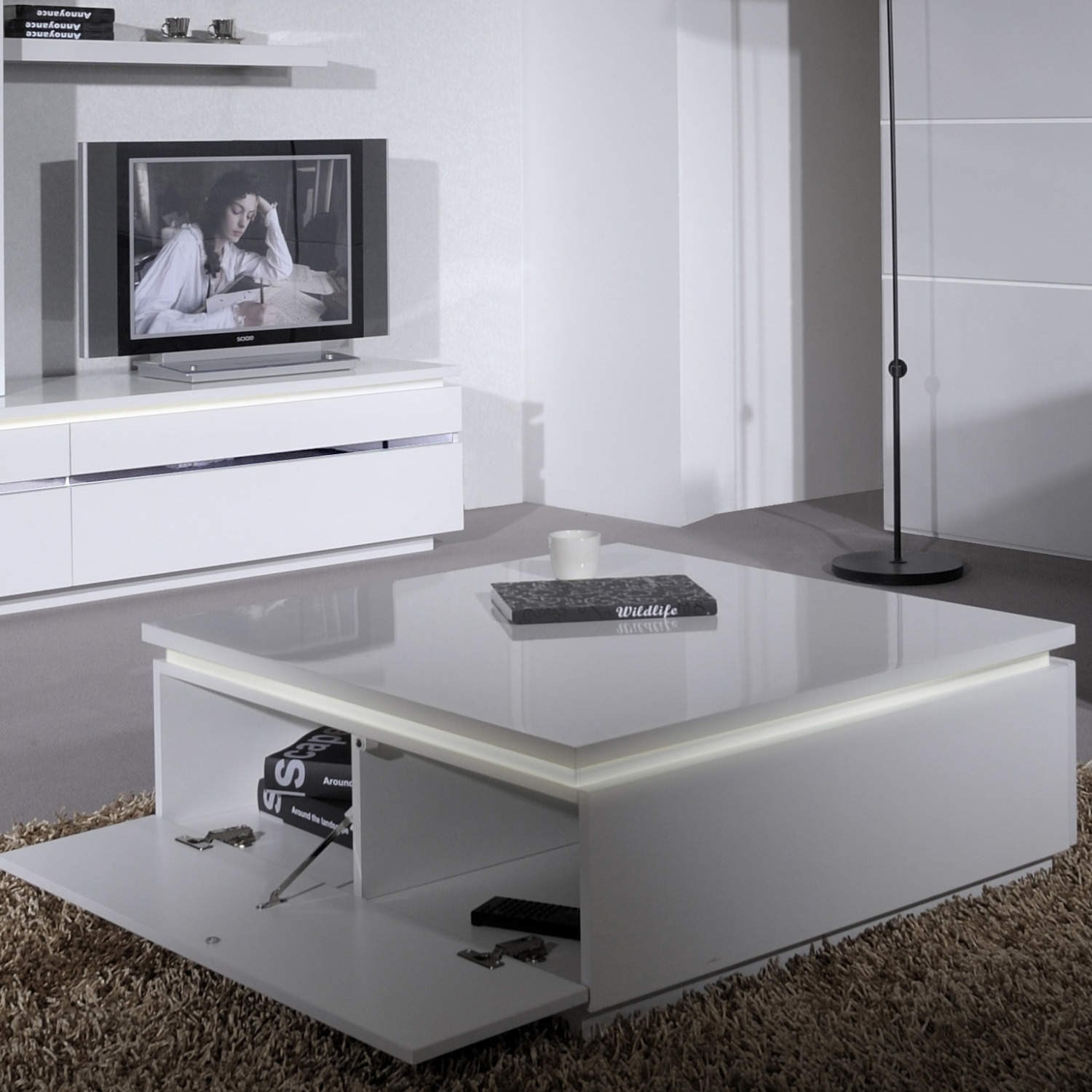 White Square High Gloss Skylight Electra Coffee Table