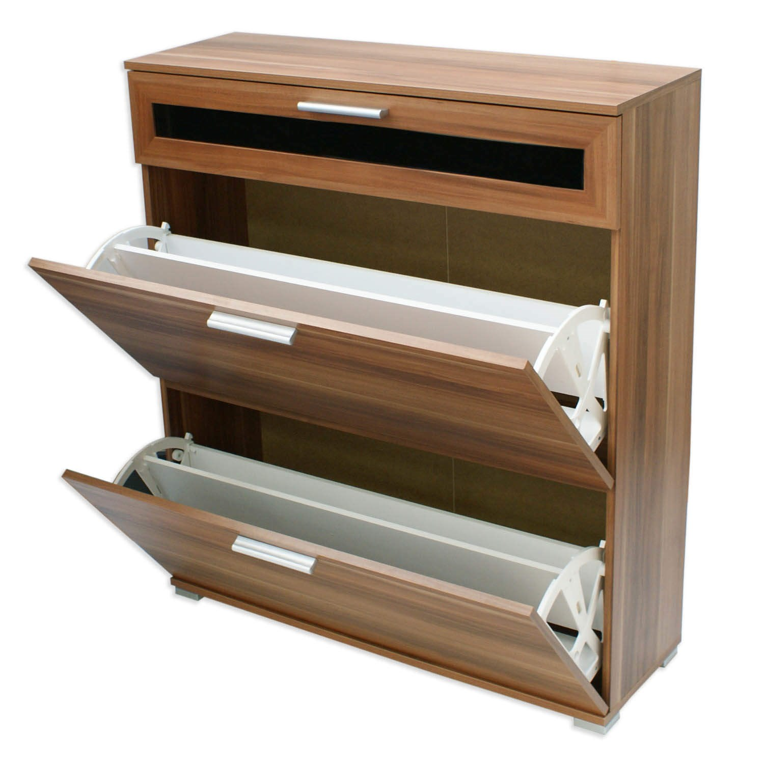 Modern Walnut Alaska Shoe Cabinet Slim Space Saving