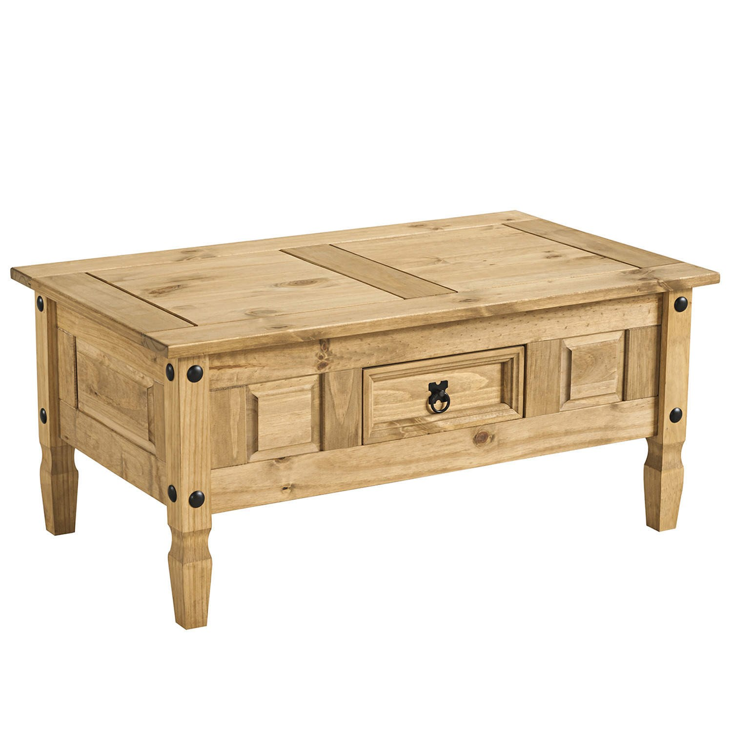 Corona solid mexican pine 1 drawer coffee table ebay for Pine coffee table